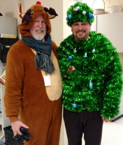 Mr. Rice and Mr. Giunta enjoying the annual BES Ugly Sweater Day 2016